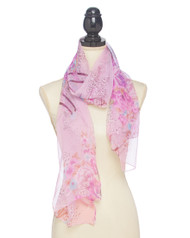 "3 available 13.00 resell for 40.00 or more Purple / 100% Polyester Feel Silk / Flower Print Oblong Scarf / 2018 S/s  • 19 1/2""X 63"" 	 •   100% POLYESTER   •   Purple  Style #PPLS042418"