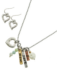 """resell for 60.00 or more Tri-tone / Cream Fresh Water Pearl & Mint Semi Precious Stone / Lead&nickel Compliant / Metal / Fish Hook (earrings) / Valentine's Day / Charm Pendant / Heart & Message / Necklace & Earring Set  •   LENGTH : 17"""" + EXT •   EARRING : 5/8"""" X 1"""" •   DROP : 1 1/2"""" •   B.SILVER/MULTI TONE  Style #ILMNS042418"""