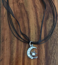 Resell for 12.00 or more 17 inch black organza plus ext Hematite moon w Crystal and star Style #HCMN042718