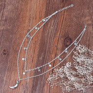 """resell for 18.00 or more Double Layer Necklace Link Cable Chain Antique Silver Star Half Moon 41.5cm(16 3/8"""") long Style #DSMSN043018"""