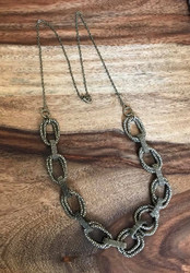 Resell for 18.00 or more 30 inch long light weight necklace Antiqued brass chunky chain Style #ABCLN043018