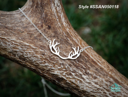 Sterling Silver Antler Necklace  17 inch plus 2 inch ext.  .925  Style #SSAN050118