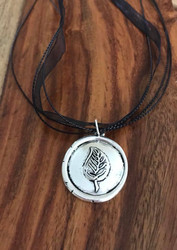 Resell for 12.00 or more Pewter leaf wax seal style pendant 1 1/8 inch  17 inch organza necklace plus ext chain Style #WLPN050318