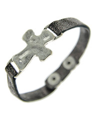 """resell for 36.00 or more Burnished Silver Tone / Grey Leatherette / Lead&nickel Compliant / Snap Button / Religious / Cross / Bracelet  •   LENGTH : 7"""" - 7 1/2"""" •   TOP FACE : 1"""" X 3/4"""" •   SILVER/GREY  Style #GLCB051518"""