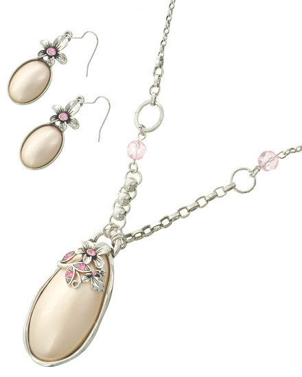"""resell for 36.00 or more Antique Silver Tone / Lt.pink Synthetic Pearl / Lead&nickel Compliant / Metal / Fish Hook(earrings) / Pendant / Flower & Oval / Long Necklace & Earring Set /  •   LENGTH : 32"""" •   PENDANT : 1 1/2"""" X 3"""" •   EARRING : 3/4"""" X 2 1/2"""" •   SILVER/PINK  Style #LSTPPN051618"""