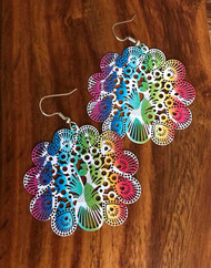 Resell for 12.00 or more Laser lace enameled peacock rainbow earrings Surgical steel ear wires  2 inch x 1 3/4 Style #PLLE052418