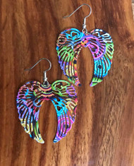 "Resell for 12.00 or more Psychedelic angel wings Laser lace enameled 1 5/8x 1 5/8"" Surgical steel ear wires Style #PAWR052418"