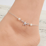 "resell for 12.00 or more Anklet Silver Plated White Starfish Acrylic Imitation Pearl 22cm(8 5/8"") long  Style #SPA052518"