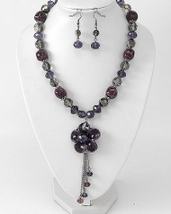 """resell for 33.00 or more Hematite Tone / Purple Ceramic & Glass Crystal / Lead&nickel Compliant / Flower Pendant Necklace & Fish Hook Earring Set /  •   LENGTH : 18"""" + EXT •   EARRING : 1 1/8"""" L •   HEMATITE/ Purple. Style #HPFNS052818"""