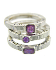 "resell for 33.00 or more Faith Love Hope / Antique Silver Tone / Lt.purple Acrylic / Lead&nickel Compliant / Metal / 3pcs Stackable / Stretch / Ring approx size 7 / stretch.  •   SIZE FREE : STRETCH •   WIDTH : 1/2""  •   SILVER/LT.PURPLE Style #PFLHRS052918"