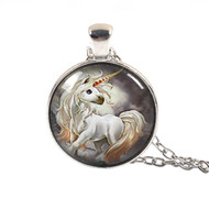 """resell for 12.00 or more Glass Necklace Silver Tone White Unicorn Round 50cm(19 5/8"""") long Style #WUN053118"""
