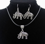 resell for 18.00 or more 18 inch black cord with 2 inch ext pewter elephant necklace set Style #CENS060418