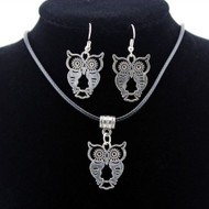 resell for 18.00 or more 18 inch black cord necklace with 2 inch extender. Pewter Owl Pendant and earrings Style #BCONS060418