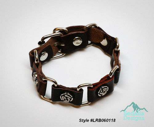 """Bracelet, leather (dyed) / imitation rhodium-plated steel / antique silver-plated """"pewter"""" (zinc-based alloy), brown, 22mm wide with 10mm rose, adjustable at 7 and 8 inches with buckle-style closure. Style #LRB060118"""