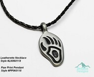 "Leatherette necklace not included Pendant, ""pewter"" (zinc-based alloy), 45x21mm bear paw PP060118"