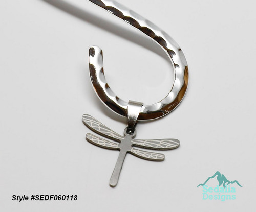 Style #SEDF060118 Neckwire not included Pendant, stainless steel, 30.5x21mm two-sided matte and shiny etched dragonfly