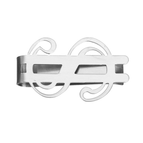 """resell for 12.00 or more 304 Stainless Steel Money Clip, Dollar Symbol Silver Tone  47mm(1 7/8"""") x 28mm(1 1/8"""") Style #MCDS060618"""