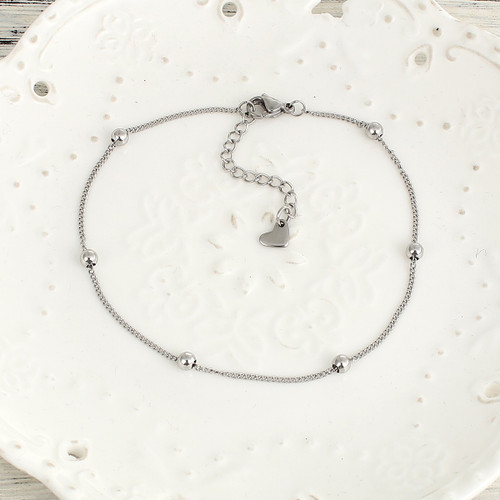"""resell for 15.00 or more 304 Stainless Steel Anklet Silver Tone Round 23.2cm(9 1/8"""") long Style #SBA060618"""