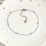 "resell for 15.00 or more 304 Stainless Steel Anklet Silver Tone Round 23.2cm(9 1/8"") long Style #SBA060618"