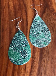 """Resell for 25.00 or more Green paisley leatherette earrings 2 1/4"""" x 1 3/8"""" Surgical steel ear wires Style #GPLE060718"""