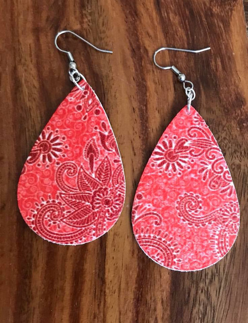 "Resell for 25.00 or more Red orange paisley leatherette earrings 2 1/4"" x 1 3/8"" Surgical steel ear wires Style #ROPLE060718"