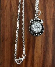 """Resell for 12.00 or more 20 inch silver tone chain Silver drusy set in pewter bezel 1 1/8""""x 3/4"""" Style #SDN060718"""