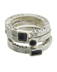 """resell for 33.00 or more Faith Love Hope / Antique Silver Tone / Jet Acrylic / Lead&nickel Compliant / Metal / 3pcs Stackable / Stretch / Ring  •   SIZE FREE : STRETCH •   WIDTH : 1/2"""" •   SILVER/BLACK  Style #FHLBR061218"""