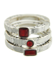 """resell for 33.00 or more Faith Love Hope / Antique Silver Tone / Red Acrylic / Lead&nickel Compliant / Metal / 3pcs Stackable / Stretch / Ring  •   SIZE FREE : STRETCH •   WIDTH : 1/2"""" •   SILVER/RED  Style #FHLRRS061218"""