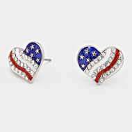 "resell for 21.00 or more • Color : White, Red, Blue, Rhodium, Clear • Theme : Patriotic  • Size : 5/8"" W, 1/2"" L  • Post Back • USA • Heart American Flag Stud Earrings Style #RWBHPE061418"