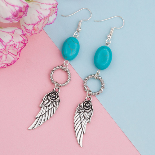 """resell for 15.00 or more Cable Twisted Earrings Antique Silver Wing Circle Ring Imitation Turquoise 84mm(3 2/8"""") x 13mm( 4/8""""), Post/ Wire Size: (21 gauge) Style #TAWDE061418"""