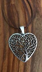 """Resell for 12.00 or more Pewter tree of life heart pendant 2.5"""" x 1 3/8"""" Brown organza necklace 17 inch plus extender chain Style #TLHN061518"""