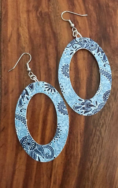 """resell for 24.00 or more PU Leather Pendants Oval Blue  Paisley 60mm(2 3/8"""") x 40mm(1 5/8"""") Surgical Steel Earwires Style #BPOE061518"""