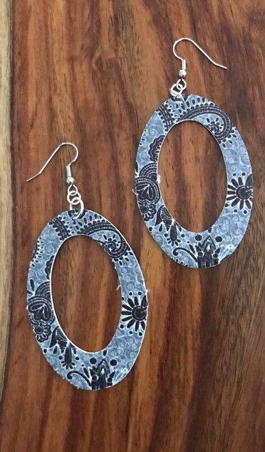 """resell for 24.00 or more PU Leather Pendants Oval Gray Paisley 60mm(2 3/8"""") x 40mm(1 5/8"""") Surgical Steel Earwires Style #GOLE061518"""