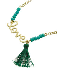 "resell for 27.00 or more Gold Tone / Green Seed Beads & Thread / Lead Compliant / Metal / Valentine's Day / Mother's Day / Love W/tassel Charm / Necklace /  •   LENGTH : 16"" + EXT •   PENDANT : 1"" X 1 1/4"" •   CHARM : 1 1/4""	 •   GOLD/GREEN  Style #TGLTN061818"