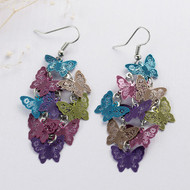 """resell for 15.00 or more Filigree Stamping Earrings Butterfly Multicolor Enamel 69mm(2 6/8"""") long Style #MCFBE061918"""