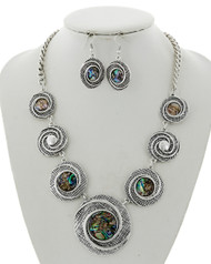 "resell for 65.00 or more Antique Silver Tone / Green Multi Color Abalone Shell W/epoxy / Lead&nickel Compliant / Metal / Fish Hook (earrings) / Graduating / Statement / Necklace & Earring Set  •   LENGTH : 19 1/2"" + EXT •   EARRING : 1"" X 1 3/4"" •   DROP : 2""	 •   SILVER/ABALONE  Style #AACN062518"