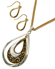 """resell for 40.00 or more Two-tone Tone / Lead&nickel Compliant / Metal / Fish Hook (earrings) / Graduating / Pendant / Teardrop & Filigree / Necklace & Earring Set  •   LENGTH : 17 1/2"""" + EXT •   PENDANT : 1 1/2"""" X 2 1/2"""" •   EARRING : 1/2"""" X 1"""" •   2 TONE  Style #TTTNS070218"""
