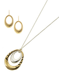 """resell for 36.00 or more Antique Gold & Silver Tone / Lead&nickel Compliant / Metal / Adjustable Closure / Fish Hook (earrings) / Open Oval / Pendant / Necklace & Earring Set  •   LENGTH : ADJUSTABLE : 28: MAX •   PENDANT : 1 1/4"""" X 1 11/16"""" •   EARRING : 11/16"""" X 1 1/4"""" •   SILVER/GOLD  Style #TTHNS070218"""