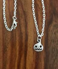 Resell for 12.00 or more 18 inch silver tone chain Pewter mad pumpkin charm Style #MPN070518