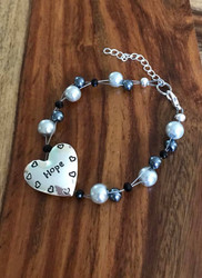 Resell for 24.00 or more 7.5 inch floating bracelet plus ext Grey black glass pearls black crystal  Pewter heart says hope Made by Ashley Style #HHFB070618