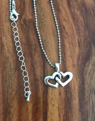 Resell for 9.00 or more 20 inch silver tone ball chain plus ext.  pewter double heart pendant Style #DHBCN070918
