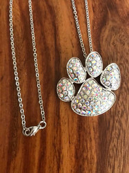 "Resell for 18.00 or more 18"" silver tone chain Silver tone with aurora borealis crystal pet paw 1.5 x 1.25"" Style #ABCPPN071018"