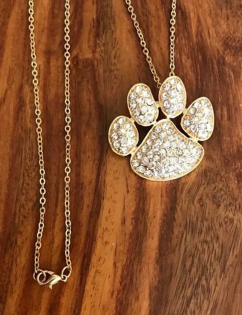 """Resell for 18.00  18"""" gold tone chain Gold tone w crystal petpaw 1.5 x 1.25"""" Style #GTCPPN071018"""