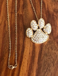 "Resell for 18.00  18"" gold tone chain Gold tone w crystal petpaw 1.5 x 1.25"" Style #GTCPPN071018"