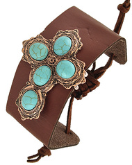 """resell for 18.00 or more Copper Tone / Brown Leatherette & Turquoise Stone / Lead Compliant / Adjustable / Western Theme / Religious / Cross / Band / Bracelet / •   SIZE FREE : ADJUSTABLE •   WIDTH : 1 7/8"""" •   COOPER/BROWN  Style #BLTCB071118"""