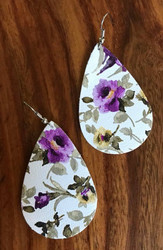 "Resell for 18.00 or more 2 1/4 x 1 3/8"" leatherette flower earring Surgical steel ear wires  White purple green Style #WPGFLE071218"