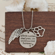 "resell for 12.00 or more Copper silver plated Pet Memorial Necklace. Pewter Wing Footprint Message 57.5cm(22 5/8"") long Style #PMCN071918"