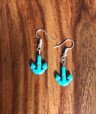 """Resell for 8.00 or more Turquoise magnesite anchor 3/4"""" x 1/2"""" Surgical steel ear wires Style #TAE072318"""