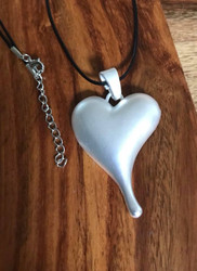 """Resell for 18.00 or more 20 inch satin cord black Matte silver pewter heart 2 3/4 x 1 5/8"""" Style #MSHPN072418"""