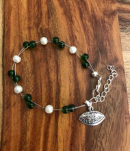 "Resell for 18.00 or more 7.5"" plus ext chain floating bracelet Pewter I love football charm  Made by Ashley  Michigan State football colors  Green white Style #MSFB072718"